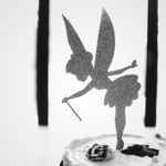 Tinkerbell cake topper black and white photo