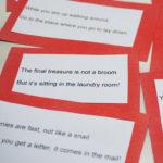 Treasure hunt clues, handmade treasure hunt clues, red cardboard